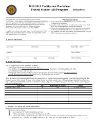 2012-2013 Verification Worksheet Federal Student Aid Programs