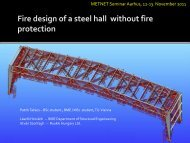 Fire design of a steel hall without fire protection