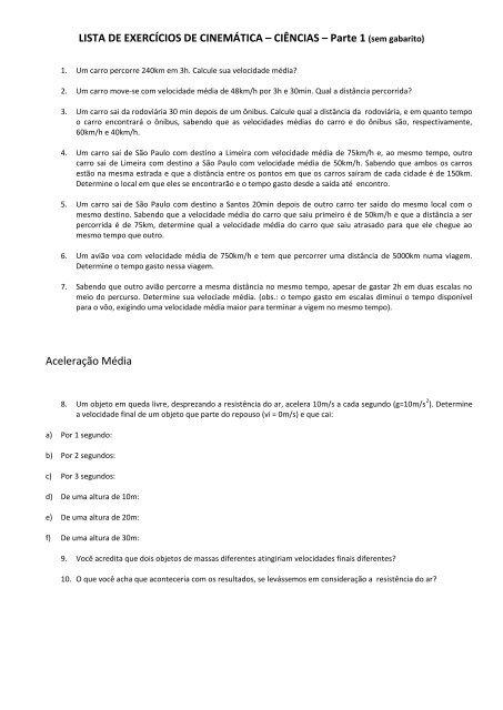 LISTA DE EXERCÍCIOS DE CINEMÁTICA – CIÊNCIAS – Parte 1 ...