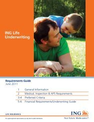 ING Life Underwriting Requirements Guide - Pinney Insurance