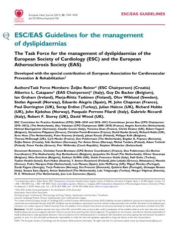 ESC/EAS Guidelines for the management of dyslipidemias