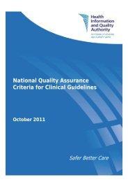 National Quality Assurance Criteria for Clinical Guidelines ... - hiqa.ie