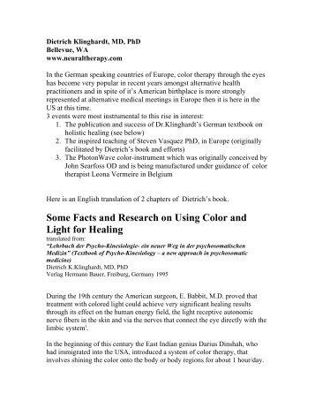 Some Facts and Research on Using Color and Light for Healing