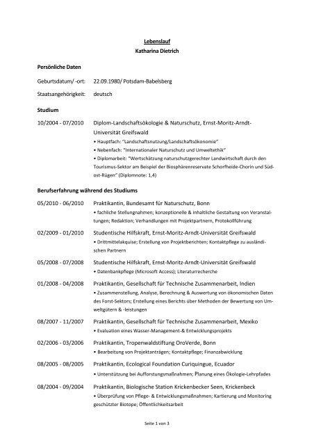 Lebenslauf Katharina Dietrich Persönliche Daten Geburtsdatum Ort