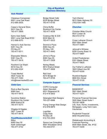 City of Rockford Business Directory - City of Rockford, Minnesota