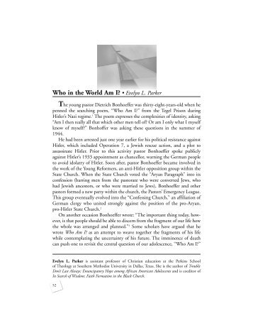 Who in the World Am I? • Evelyn L. Parker - Princeton Theological ...
