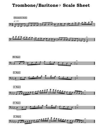 Trombone & Baritone (BC) Scale Sheet