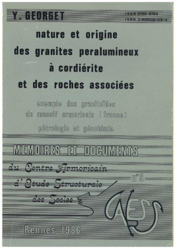 Nature et origine des granites peralumineux à cordiérite et des ...