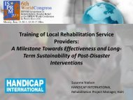 Training of Local Rehabilitation Services Providers - The ...