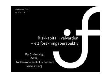 Per Strömbergs presentation 377.7 KB pdf - SNS