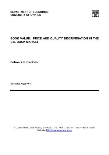 BOOK VALUE: PRICE AND QUALITY DISCRIMINATION IN THE ...