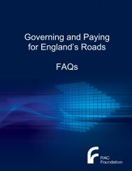 Governing and Paying for England's Roads - FAQs - RAC Foundation