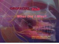Orofacial Pain: What Did I Miss? - National Arab American Medical ...