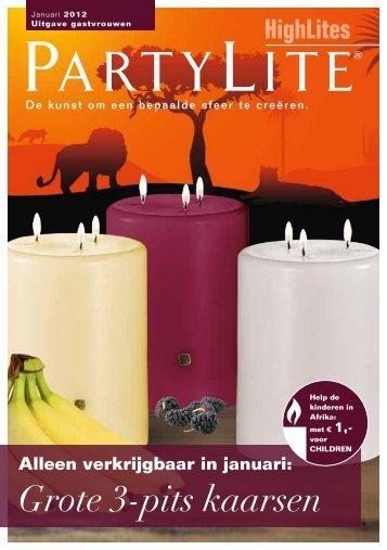 alleen verkrijgbaar in januari: Grote 3-pits kaarsen - PartyLite