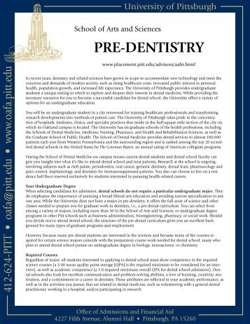 PRE-DENTISTRY - Undergraduate Admissions & Financial Aid ...