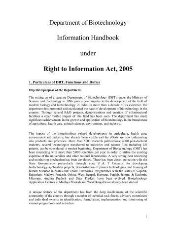 Information Handbook under Right to Information Act, 2005