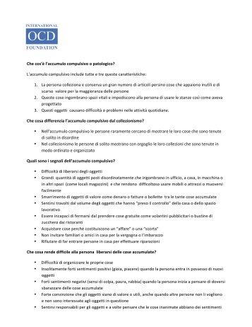 Hoarding Fact Sheet (Italian) - Obsessive Compulsive Foundation