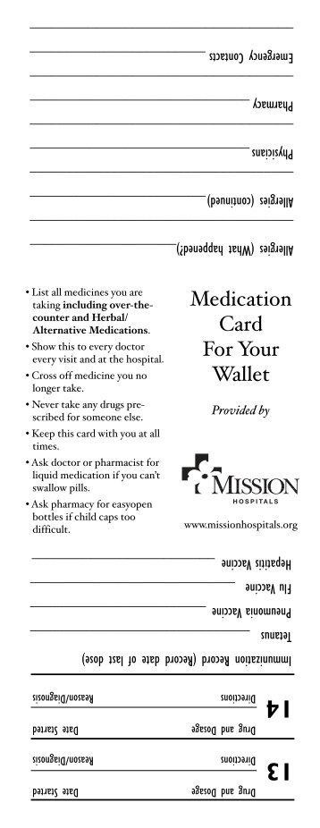Wallet Medication Card - Mission Health