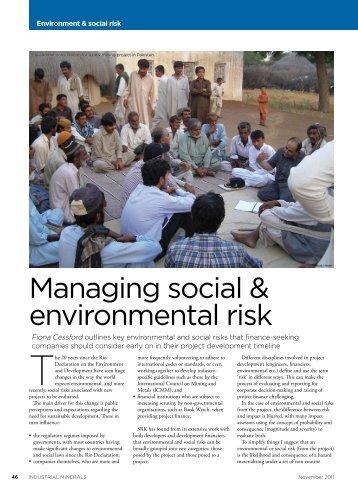 Managing social & environmental risk - SRK Consulting