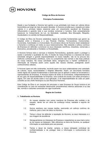 Código de Ética da Hovione Princípios Fundamentais Desde a sua ...