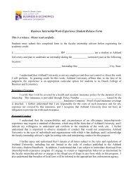 2010 Student Release Form - Ashland University