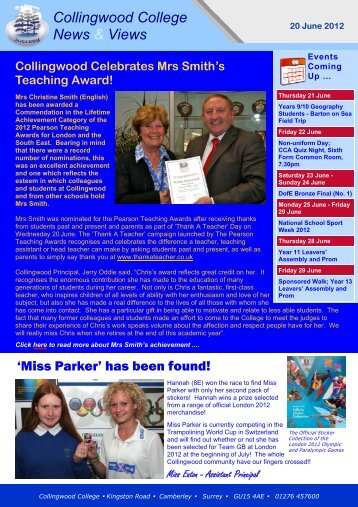Weekly Newsletter 20 June 2012 - Collingwood College