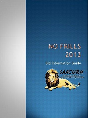 No Frills 2013 Call for Bids - saacurh - National Association of ...