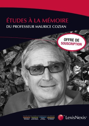 DU PROFESSEUR MAURICE COZIAN - LexisNexis