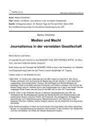 Medien und Macht Journalismus in der vernetzten Gesellschaft