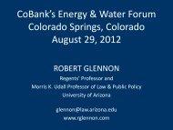 CoBank's Energy & Water Forum Colorado Springs, Colorado ...