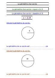 Le périmètre d'un cercle