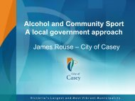 Alcohol and Community Sport A local government approach - DrugInfo