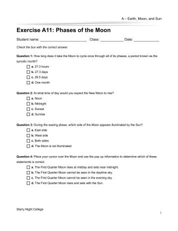 Phases of the Moon - Starry Night Education