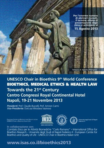 UNESCO Chair in Bioethics 9th World Conference Towards the 21st ...