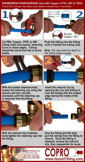Copro Quick Fitting Push to Connect Plumbing Instructions