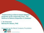 """Implementing evidence-based diabetes programs at the community ..."