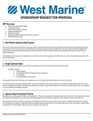 Sponsorship Request for Proposal - West Marine