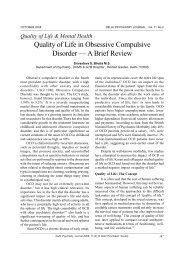 Quality of Life & Mental Health - medIND