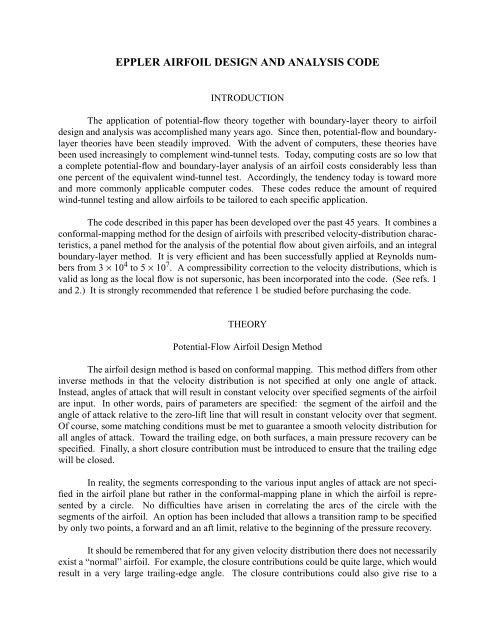 EPPLER AIRFOIL DESIGN AND ANALYSIS CODE - Airfoils Inc