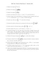 MAT 162—Practice Final Exam A—Summer 2010 1. Evaluate the ...