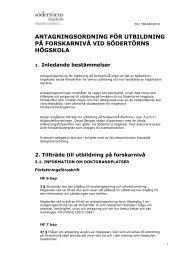 Antagningsordning - Södertörns högskola