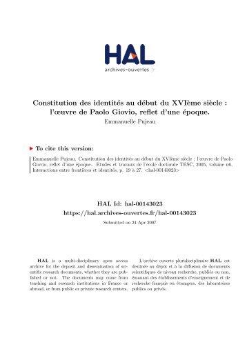 Constitution des identités au début du XVIème siècle: l'œuvre de ...