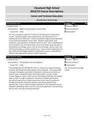 Cleveland High School 2012/13 Course Descriptions Career and ...