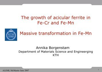 The growth of acicular ferrite in Fe-Cr and Fe-Mn Massive ... - alemi.ca