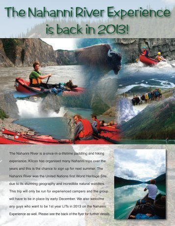 The Nahanni River Experience is back in 2013! - Kilcoo Camp
