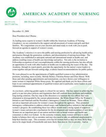 Academy letter to President-Elect Obama - American Academy of ...