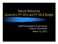 Natural Resources Governor's FY 2013 and FY 2014 Budget - State