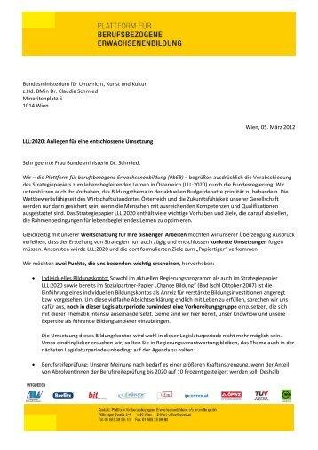 Brief an BMin Dr. Claudia Schmied, BM Dr. Karlheinz Töchterle, BM ...