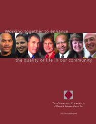 Working together to enhance the quality of life in our community