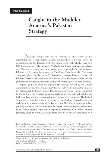 Caught in the Muddle: America's Pakistan Strategy ... - Arz-e-Pak